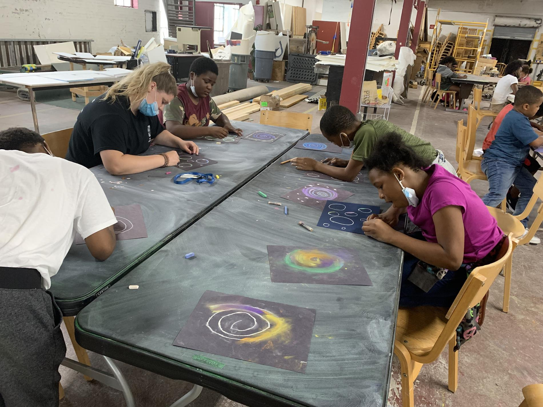 Students working on artwork