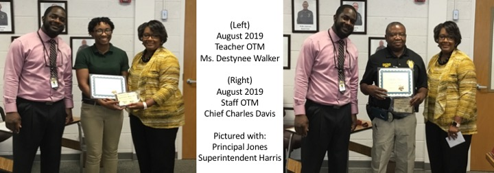 August 2019 Staff and Teacher of the Month