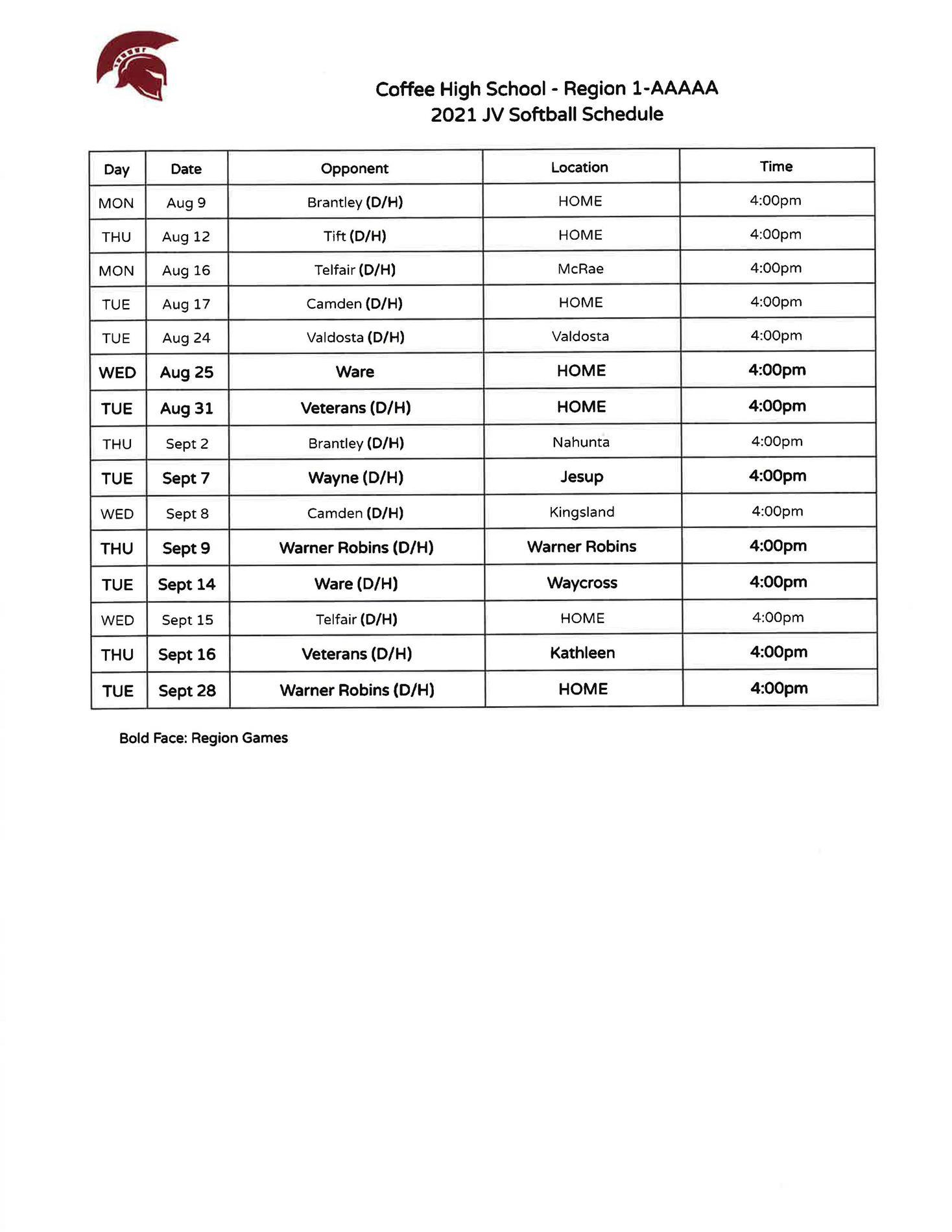 2021 CHS Lady Trojans JV Softball Schedule