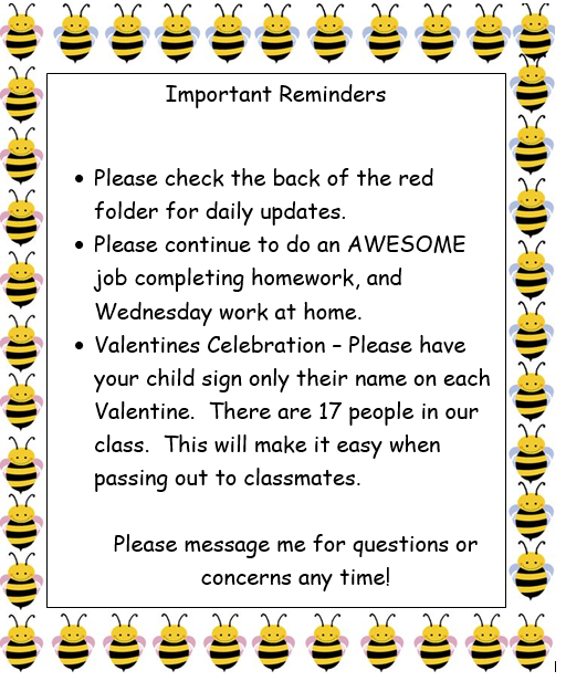 Important Reminders February