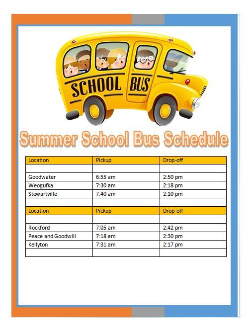 2021 Summer Bus Schedule