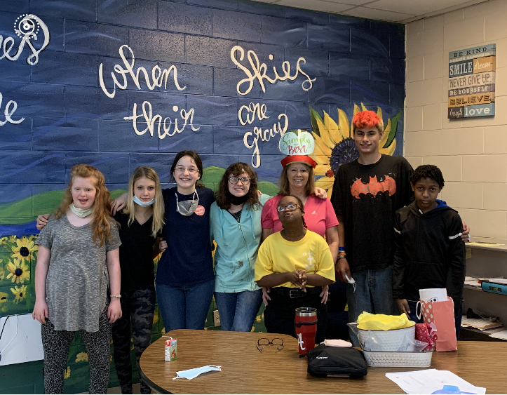 Mrs. Adams with her students