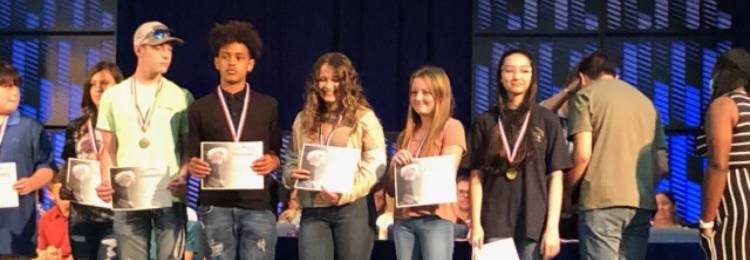 TCMS students receiving awards