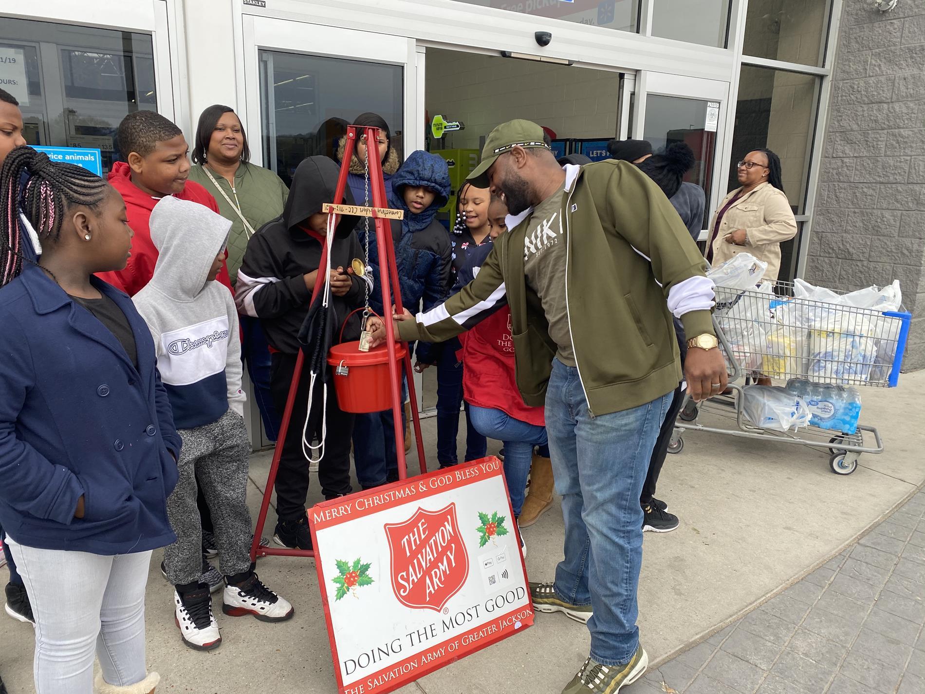 Beta members ringing the kettle at Walmart in Yazoo City