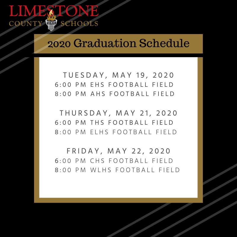 2020 Graduation Schedule