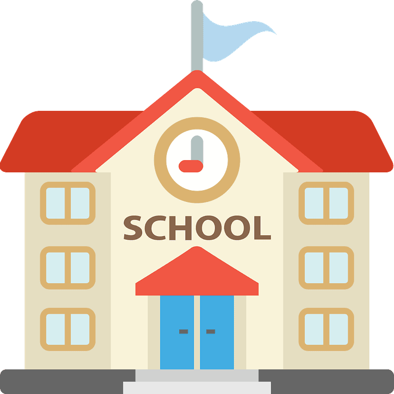school building cartoon with flag and clock