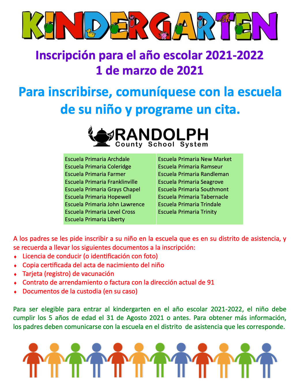 Spanish Kindergarten Registration
