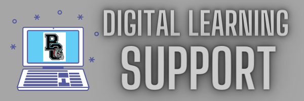 hader with the words digital learning support