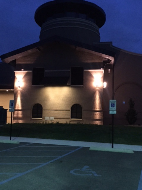 exterior night time lighting at the drive thru drop box located outside the library on the west side of the Spanish Fort Community Center building
