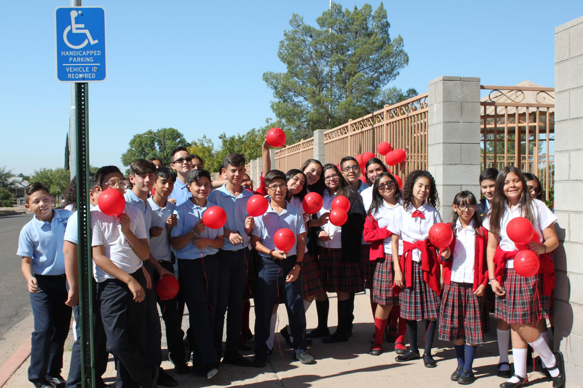 Students with their balloons