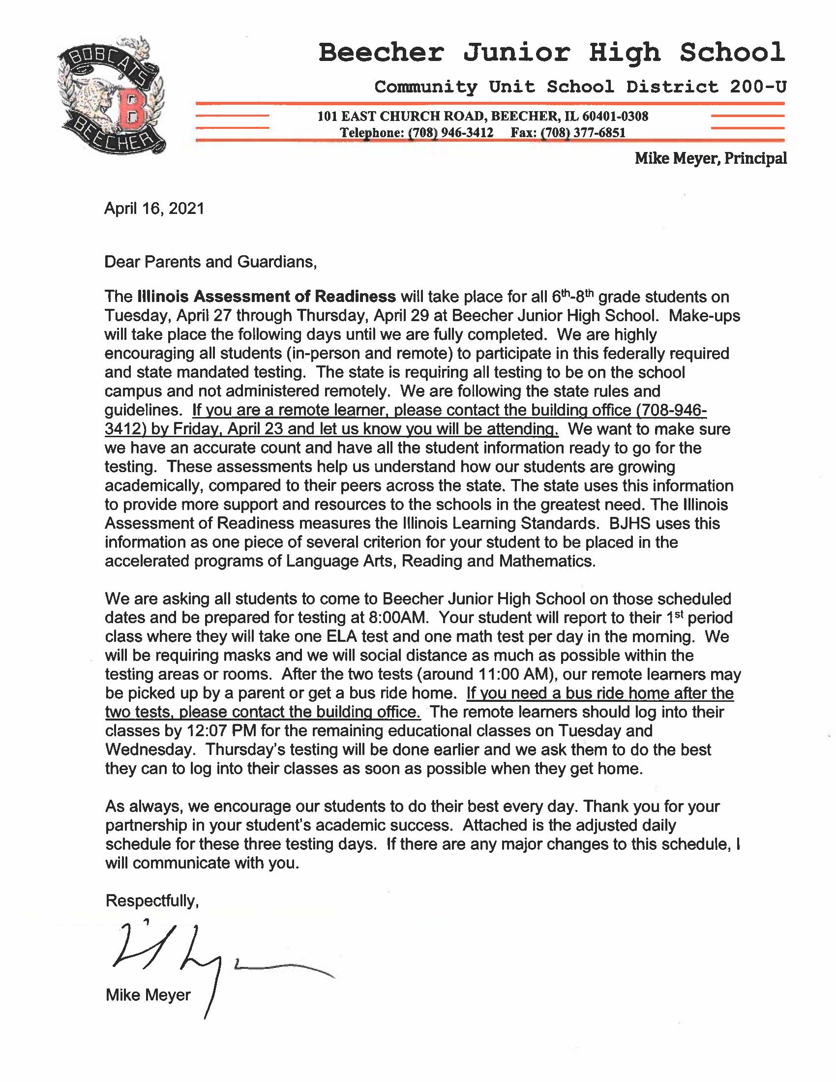 IAR Parent Letter