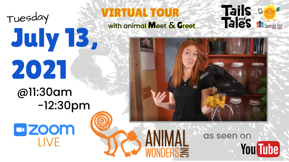 Animal Wonders Virtual Tour LIVE on Tuesday July 13, 2021 at 11a.m. CST