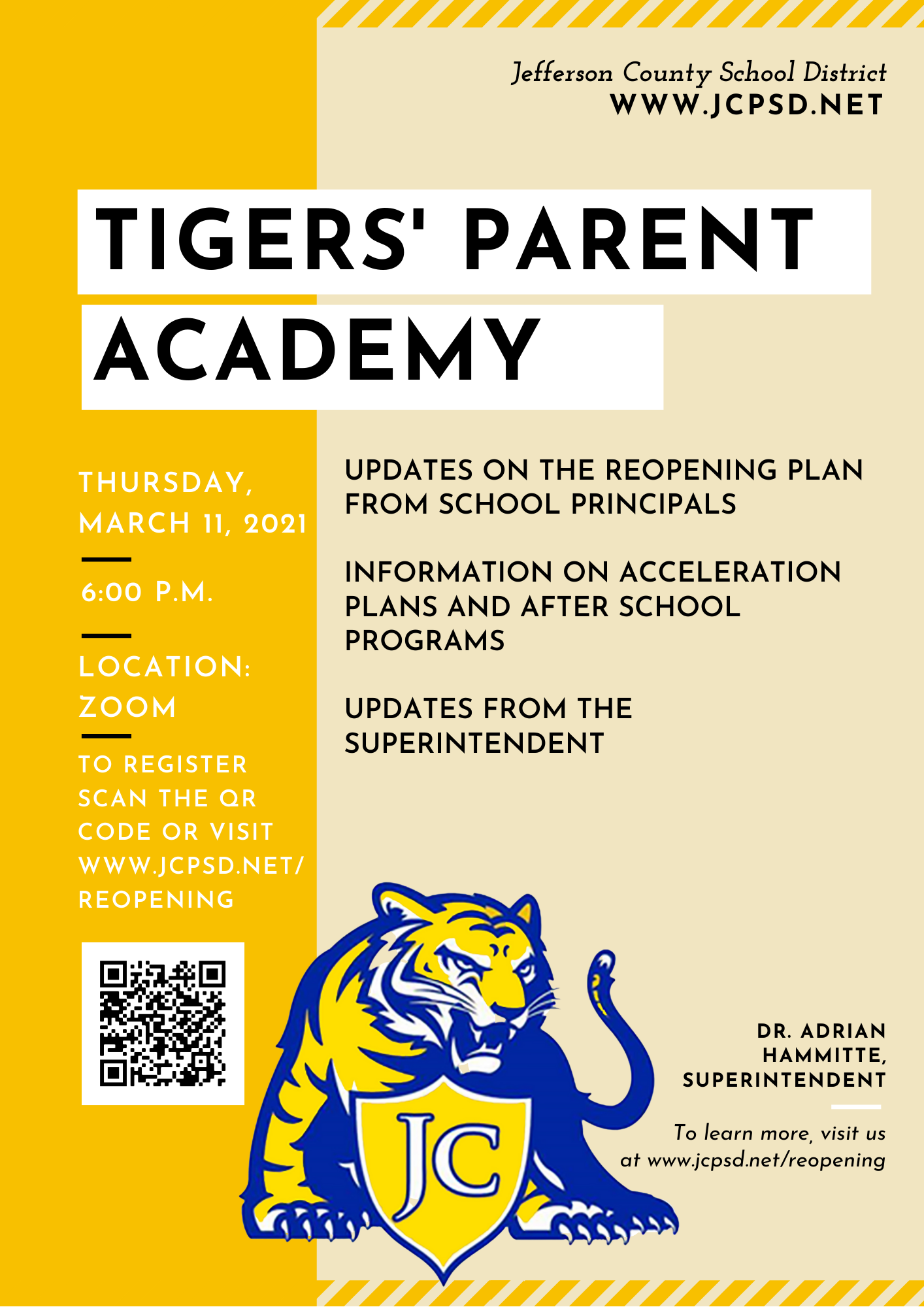 March Parent Academy Flyer
