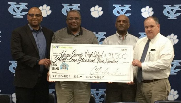 CF Industries donated 31, 500 to Yazoo County High School.