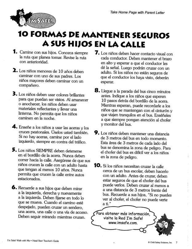 Pedestrian Safety Handout Spanish