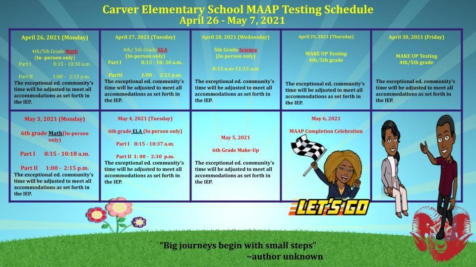 Carver's MAAP Testing Schedule