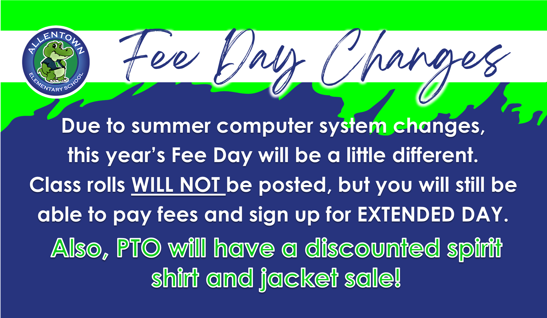 Fee Day Changes