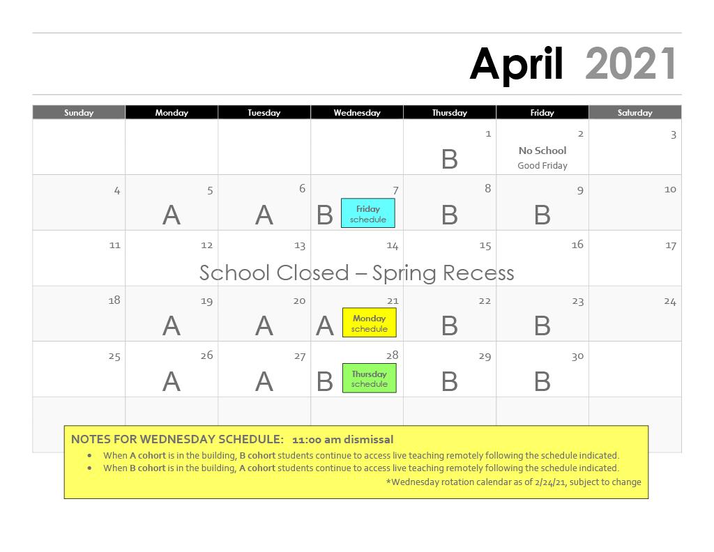 April 2021 Rotation Calendar