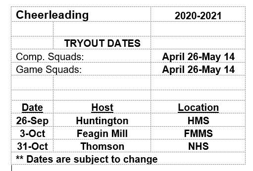 2020 Cheerleading Schedule
