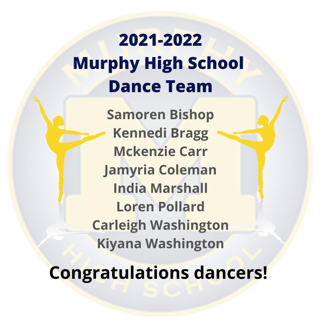 2021-2022 Murphy High School Dance Team Announcement