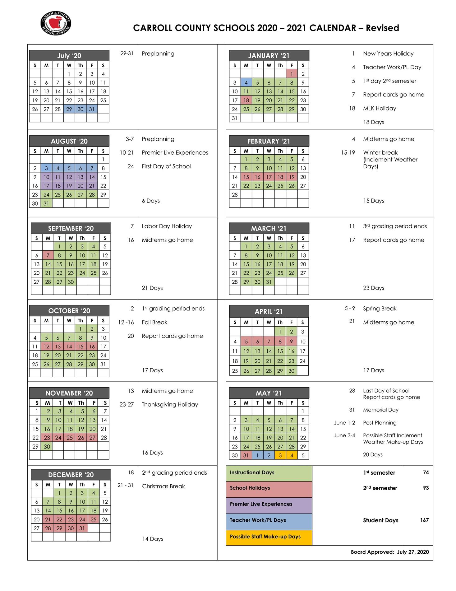 Carroll County Schools Calendar   Bay Springs Middle
