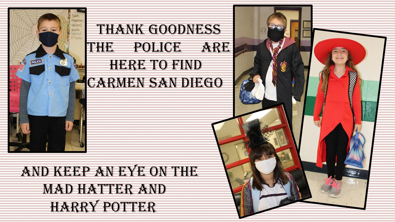 Students dressed as a policeman, Carmen San Diego, the Mad Hatter and Harry Potter