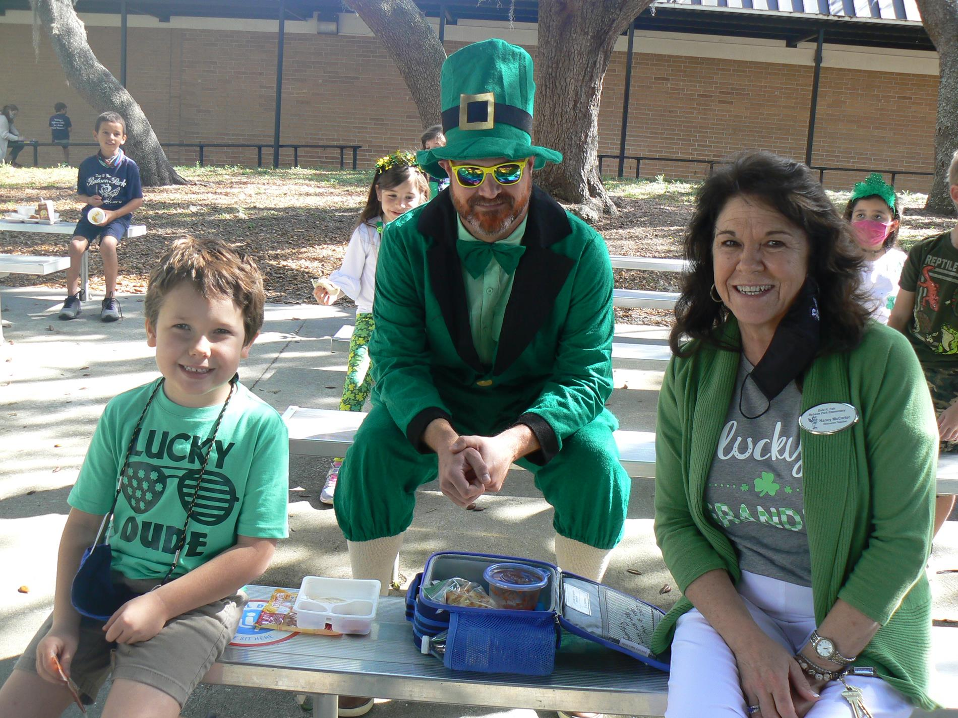 Students were visited by the leprechaun during lunch.