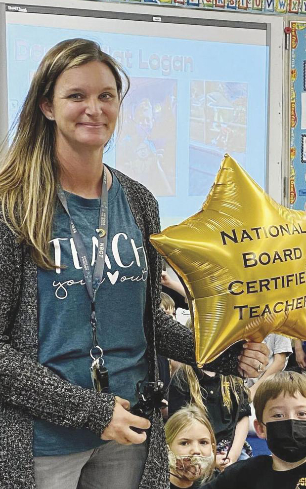 image of Christina Musselman with NBCT balloon