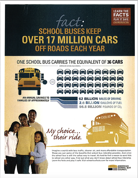 School Buses reduce the number of cars on the road