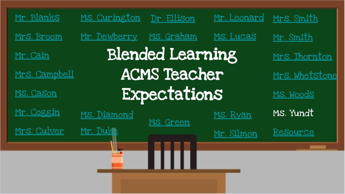 chalkboard with teacher names