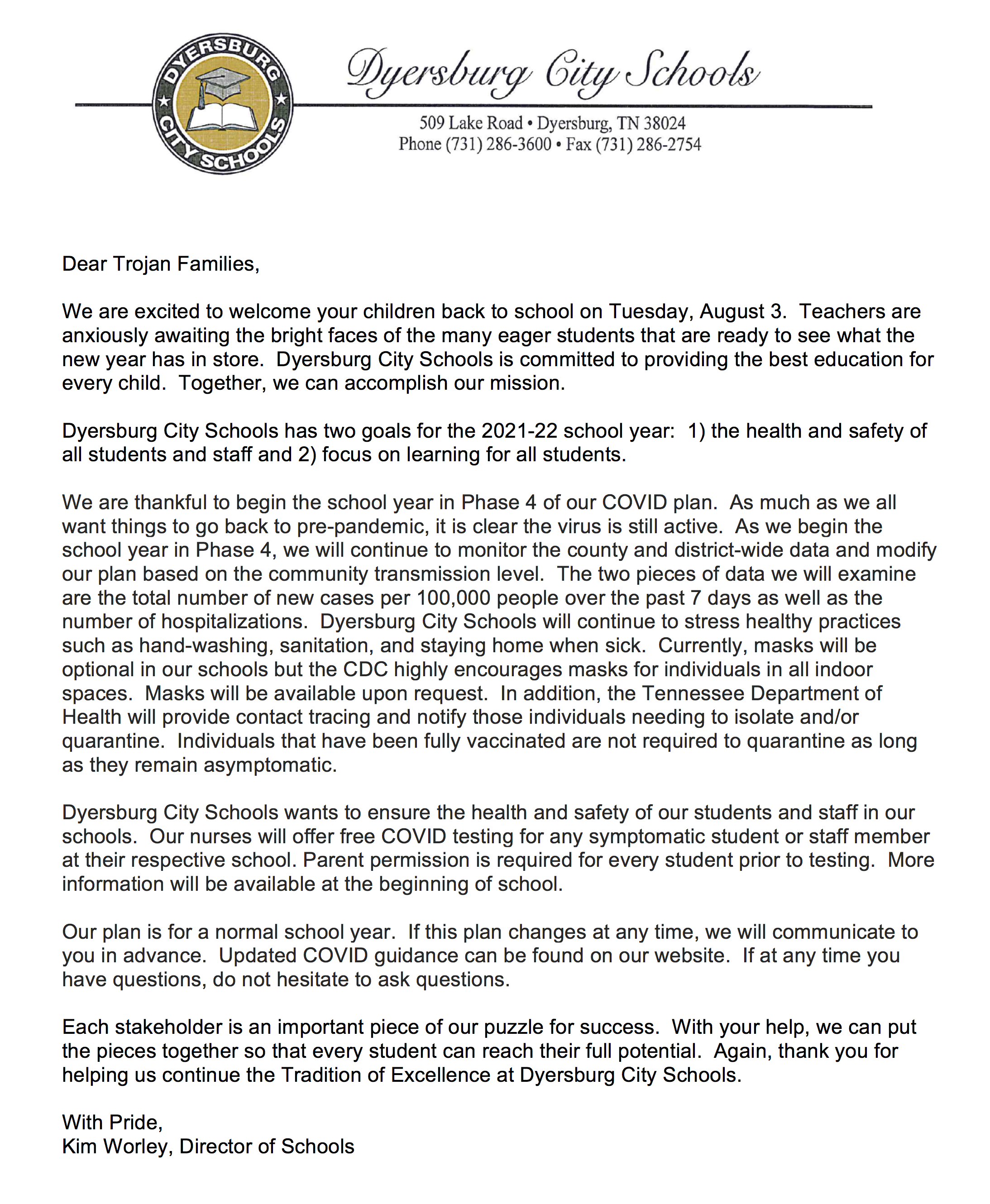July 29, 2021 Letter from Kim Worley