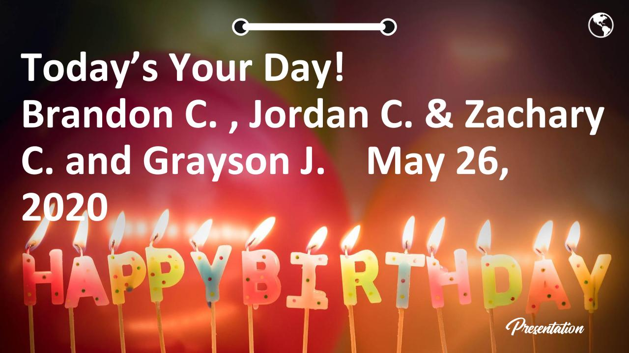 Today's Your Day! Brandon C. , Jordan C. & Zachary C. and Grayson J.    May 26, 2020
