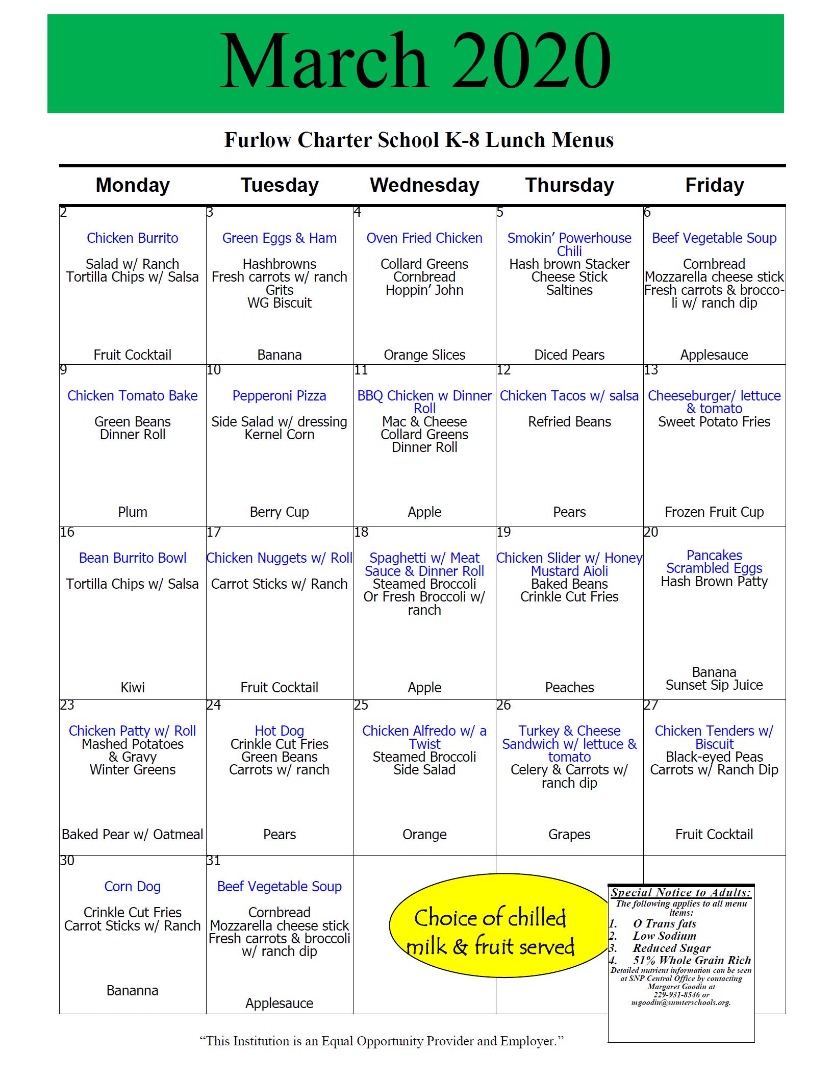 March 2020 School Lunch Menu