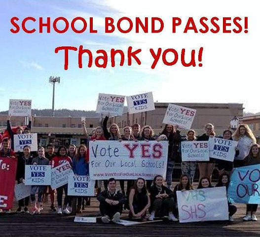 School Bond Passes! Students holding signs in front of a school
