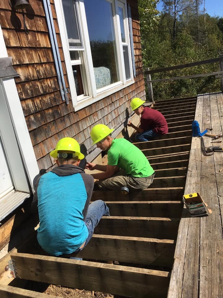 Colebrook students complete a building project.