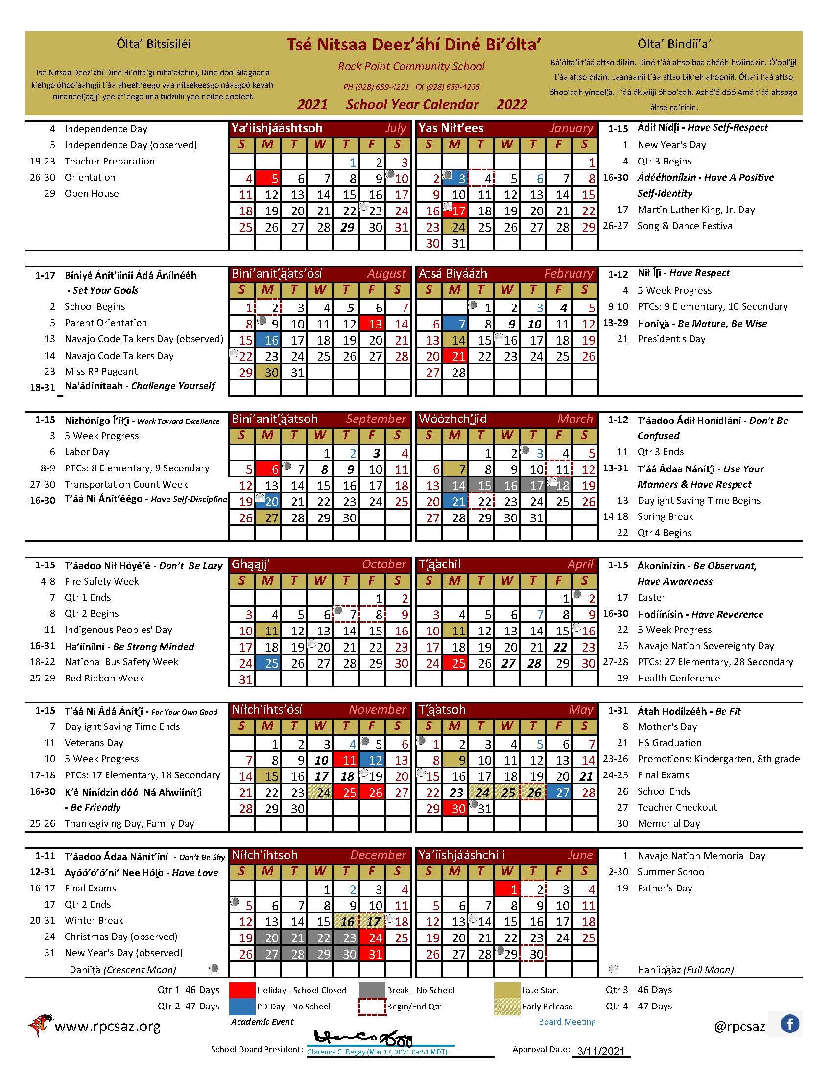 SY 21-22 Calendar