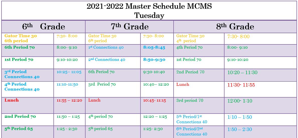 Tues. schedule