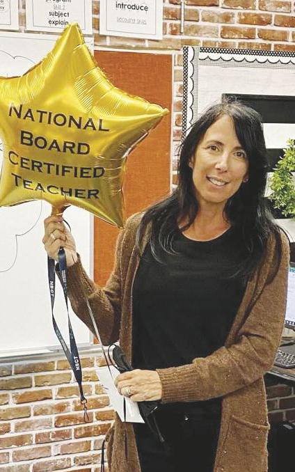 image of Theresa Nigg with NBCT balloon