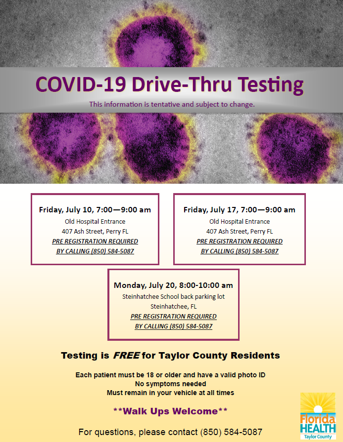 COVID 19 Testing in Taylor County for July