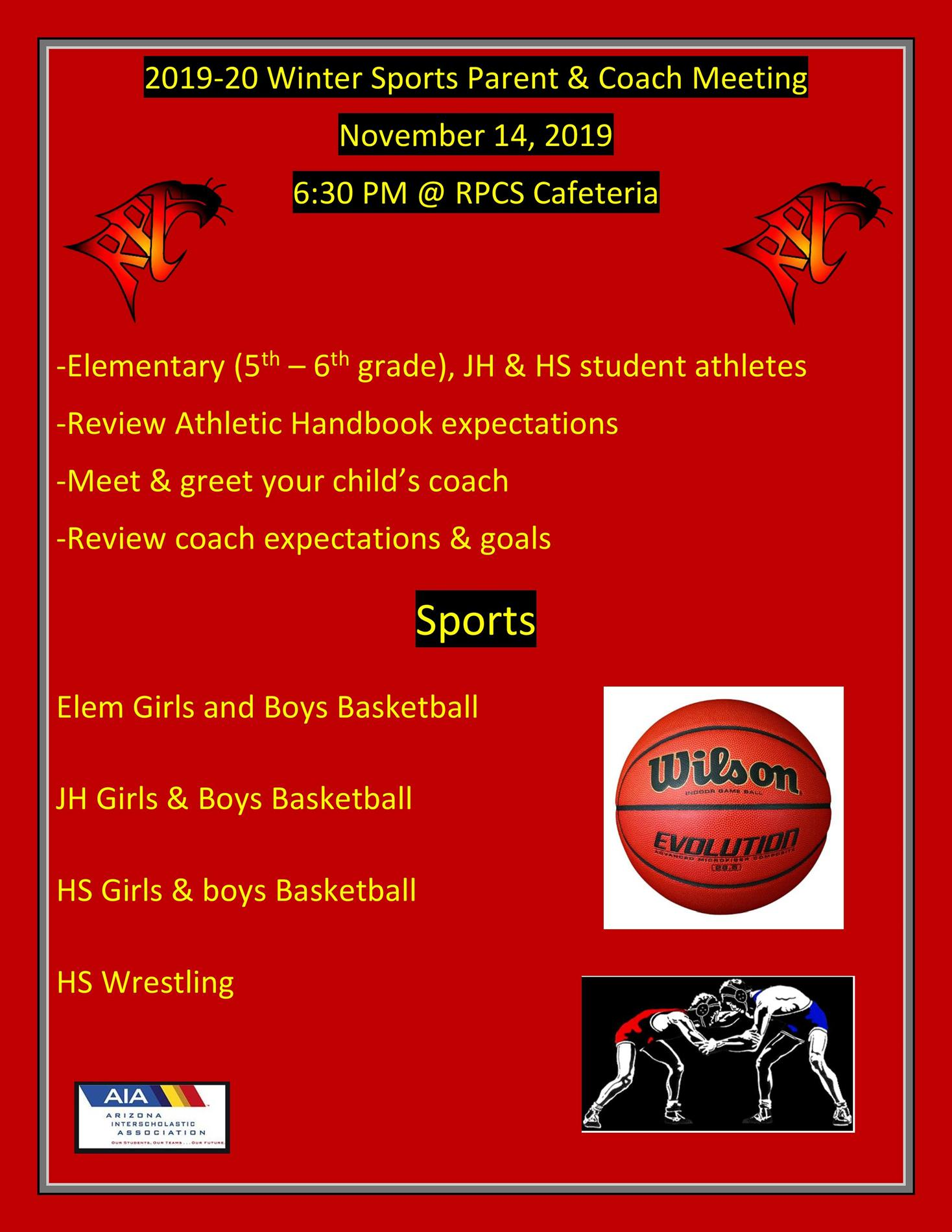 Winter Sports Parent Meeting Flyer