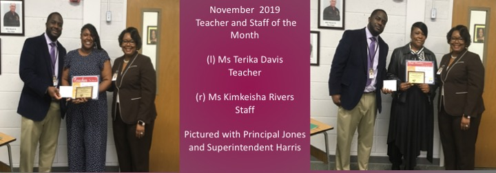 November 2019 Teacher and Staff of the Month