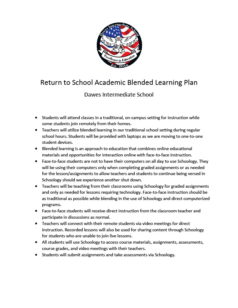 Return to School Academic Blended Learning Plan