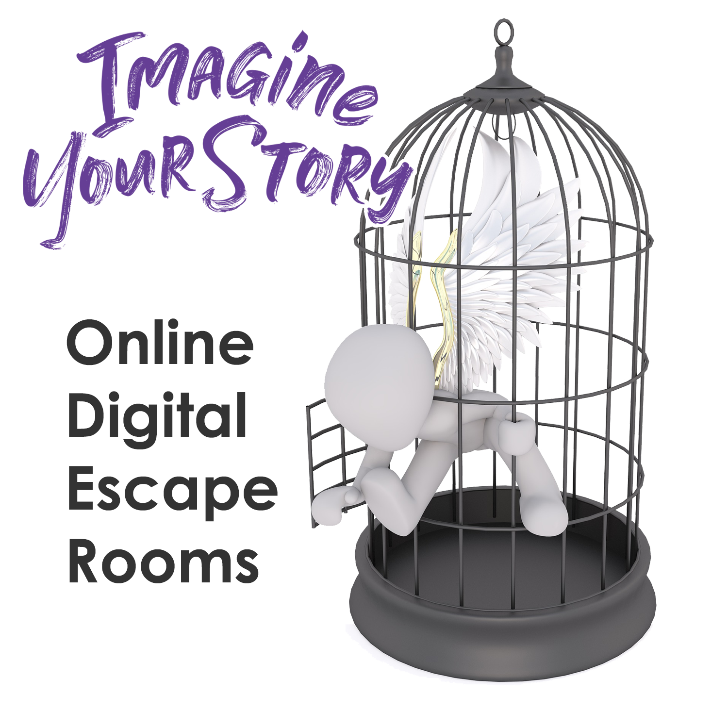 """image of 3D human figure with wings escaping from cage """"Online Digital Escape Rooms"""" with link to Escape room page"""