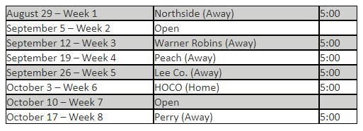 2019 9th Grade Warhawks Schedule