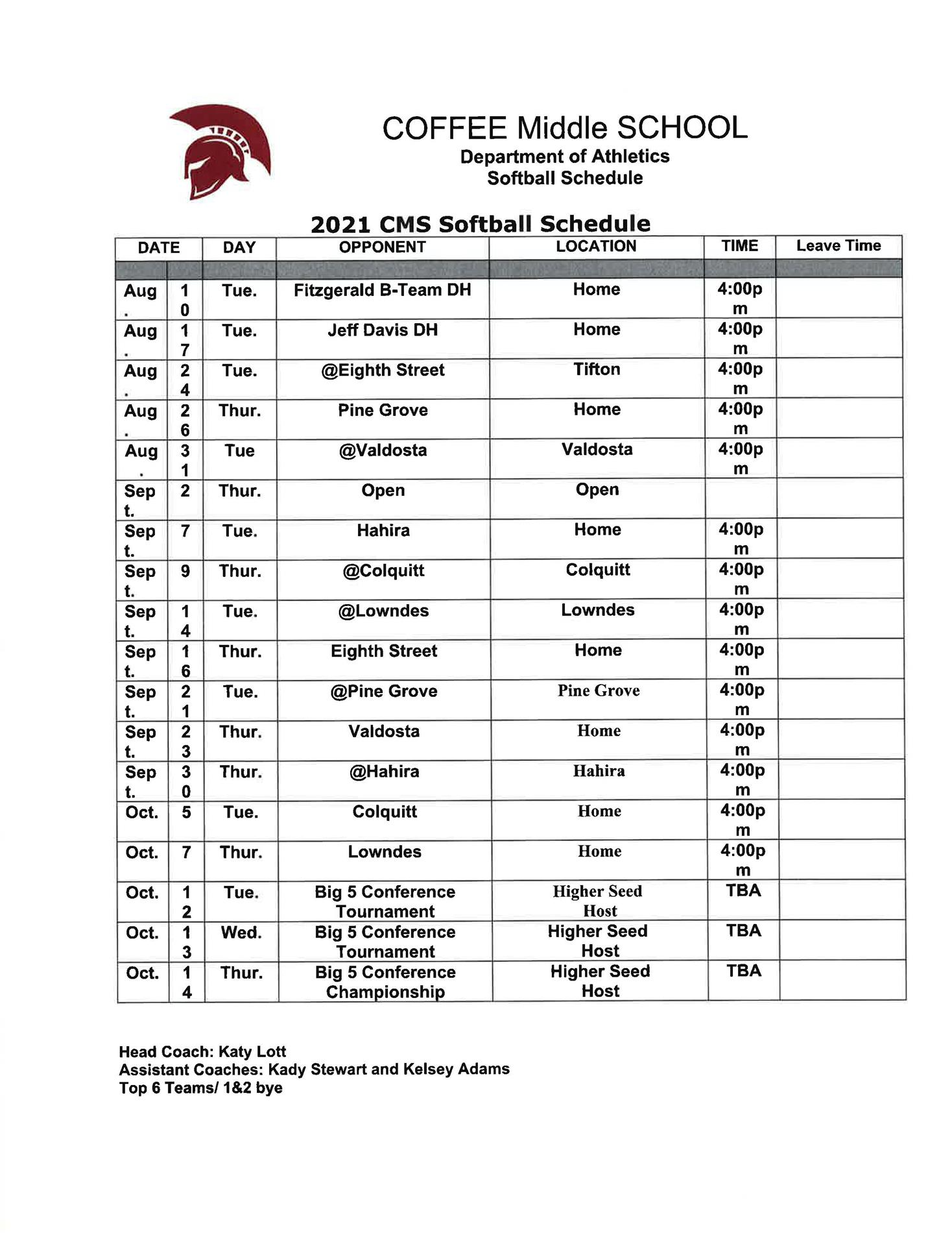 2021 Coffee Middle School Softball Schedule