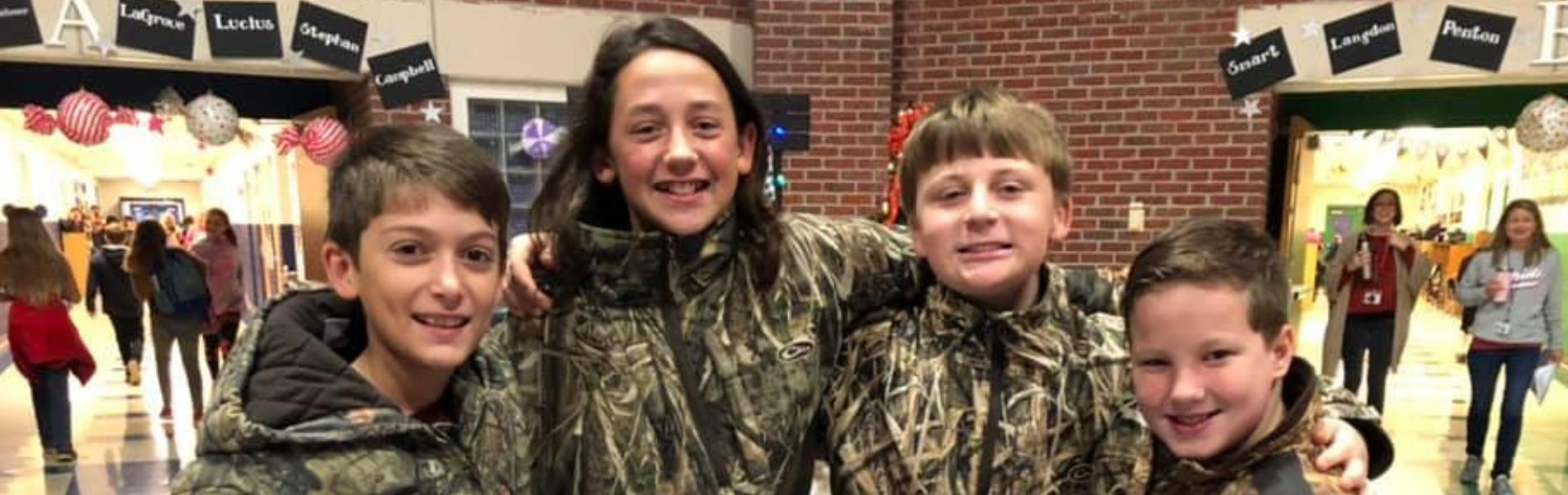 Boy students in camo