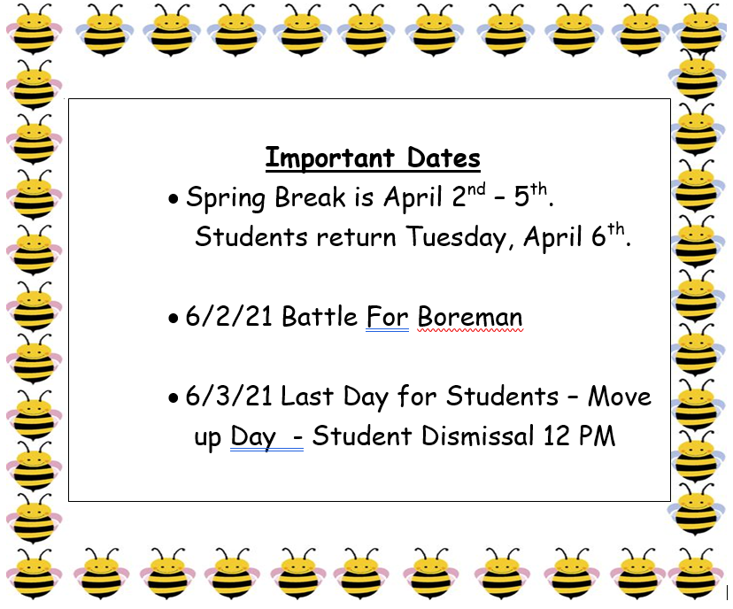 April -May Important Dates