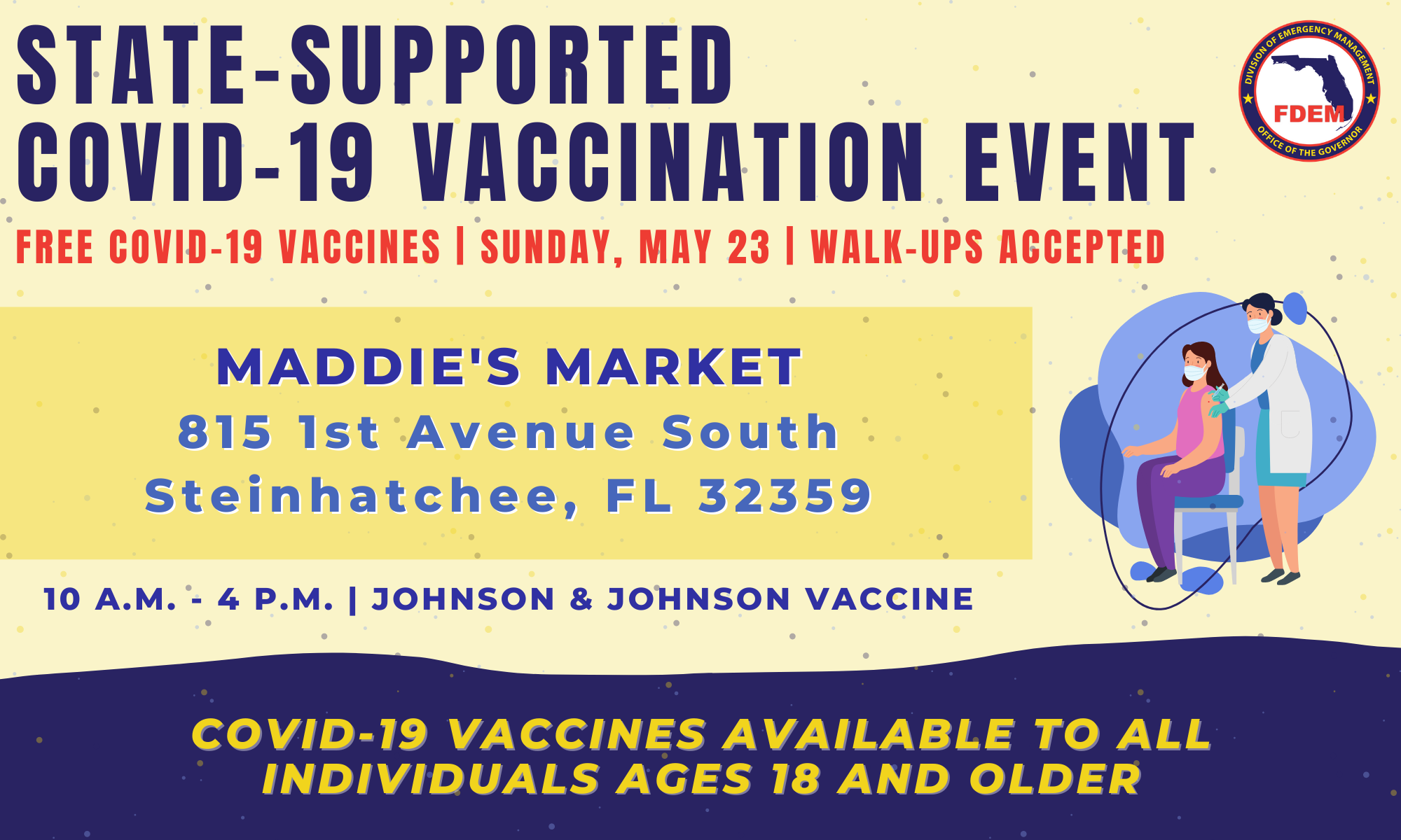 Vaccine Information at Maddie's Market on May 23, 2021