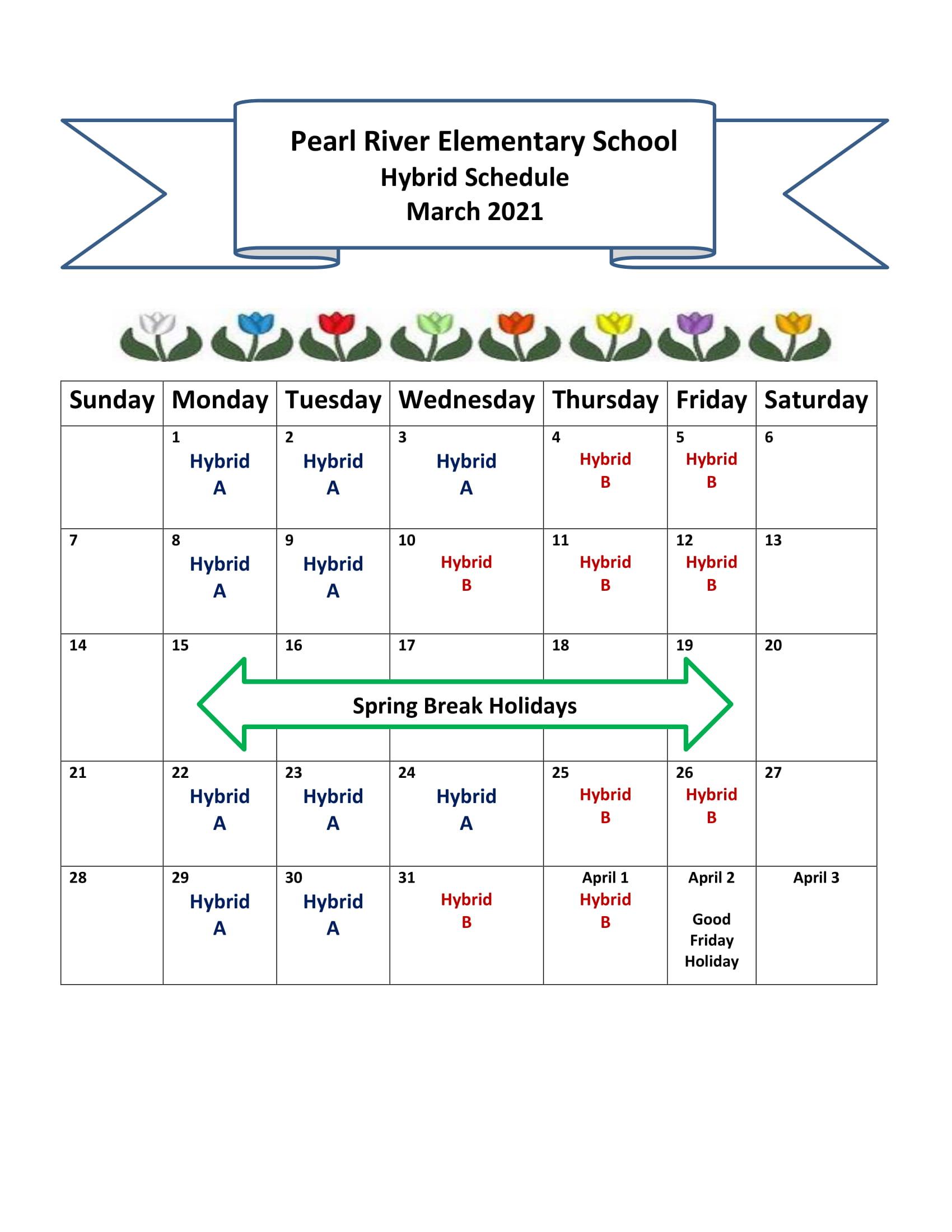 March Hybrid Schedule