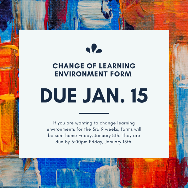 Change of learning environment form due 1/15/2020.
